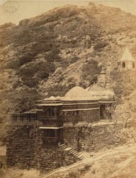 Temple of Samprati Raja and summit of Girnar Hill, from the west, near Junagadh